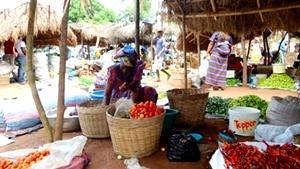 Una mujer togolés vendiendo vegetales en un mercado agrícola en Togo