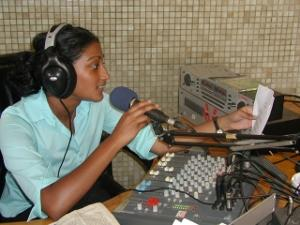 Girl at radio station in Ghana