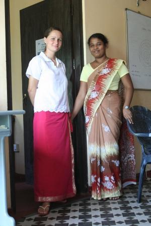 Female volunteer with a Sri Lankan woman