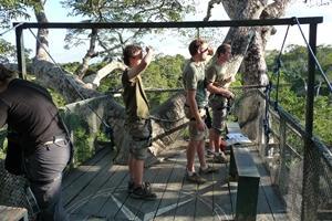Voluntarios en observación de animales salvajes en Perú