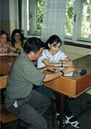 Volunteer teaching at school in Romania